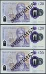 Bank of England, Sarah John, polymer £20, ND (20 February 2020), serial number AA01 000410/444/555,