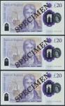 Bank of England, Sarah John, polymer £20, ND (20 February 2020), serial number AA01 000410/444/555,