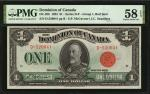 CANADA. Dominion of Canada. 1 Dollar, 1923. DC-25b. PMG Choice About Uncirculated 58 EPQ.