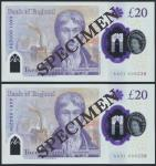 Bank of England, Sarah John, polymer £20, ND (20 February 2020), serial number AA01 000236/238, purp