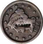 B.C. HOFF on an 1846 Braided Hair large cent. Brunk H-674, Rulau NY-SY 11. Host coin Fine.
