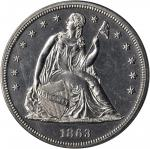 1863 Liberty Seated Silver Dollar. Proof-60 (PCGS).