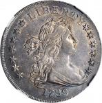 1799 Draped Bust Silver Dollar. BB-151, B-13. Rarity-5. 13 Star Reverse, Irregular Date. AU-55 (NGC)