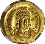 JUSTIN I, 518-527. AV Solidus (4.48 gms), Constantinople Mint, 4th Officinae.