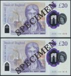 Bank of England, Sarah John, polymer £20, ND (20 February 2020), serial number AA01 001805/1815, pur