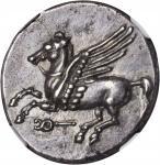 ITALY. Bruttium. Locri Epizephyrii. AR Stater (8.68 gms), ca. 350-275 B.C. NGC AU, Strike: 5/5 Surfa