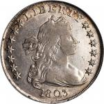 1803 Draped Bust Silver Dollar. BB-255, B-6. Rarity-2. Large 3. VF Details--Rim Damage (PCGS).