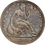 1878-S Liberty Seated Half Dollar. WB-1, the only known dies. Rarity-5. Fine-15 (PCGS).