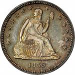1859 Liberty Seated Quarter. Proof-64 (PCGS). CAC. OGH.