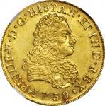 MEXICO. 8 Escudos, 1739-MoMF. Philip V (1700-46). NGC AU-58.