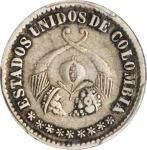 COLOMBIA. Decimo, 1863. Bogota Mint. PCGS EF-45 Gold Shield.
