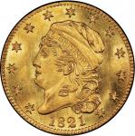 1821 Capped Head Left Half Eagle. Bass Dannreuther-1. Rarity-6+. Mint State-66+ (PCGS).
