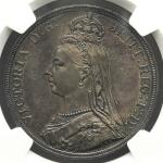 GREAT BRITAIN Victoria ヴィクトリア(1837~1901) Crown 1887 NGC-MS61 トーン AU