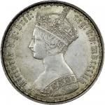 Victoria (1837-1901), Florin, 1854, crowned Gothic bust left, rev. crowned shields cruciform, emblem
