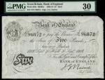 Bank of England, J.G. Nairne, £5, Hull 20 September 1916, serial number 75T 96872, black and white,