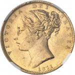 GRANDE-BRETAGNE Victoria (1837-1901). Souverain, signature WW en relief, coin #27 1871, Londres.