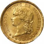 COLOMBIA. 20 Pesos, 1872-BOGOTA. Bogota Mint. NGC MS-64.