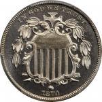 1870 Shield Nickel. Proof-67 Cameo (PCGS). CAC.