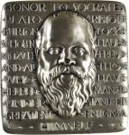 1964 Honor to Socrates. Re-Issue. Fine Silver. 64 mm x 66 mm, rectangular. 334.3 grams. By Robert A.
