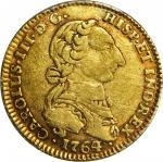 COLOMBIA. 1764/3-JV 2 Escudos. Santa Fe de Nuevo Reino (Bogotá) mint. Carlos III (1759-1788). Restre