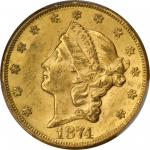 1874-CC Liberty Head Double Eagle. MS-60 (PCGS).