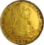 SPAIN. Falsa Época. Gilt Platinum Contemporary Counterfeit 8 Escudos, 1776-S JN. Uncertain Local Min