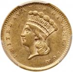 1856 $1 Gold Indian. Slanting 5