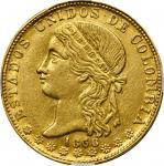 COLOMBIA. 20 Pesos, 1868-MEDELLIN. Medellin Mint. NGC AU-55.
