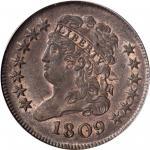 1809 Classic Head Half Cent. C-3. Rarity-1. MS-64 BN (PCGS). CAC.