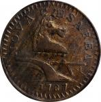 1787 New Jersey Copper. Maris 64-t, W-5380. Rarity-1. Large Planchet, Trident Shield. EF-40 (PCGS).