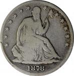 1878-CC Liberty Seated Half Dollar. WB-101, the only known dies. Good-6 (PCGS).