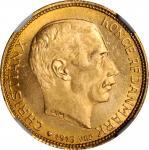 DENMARK. 20 Kroner, 1913-VBP AH. Copenhagen Mint. NGC MS-65.