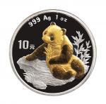 1995年、1998年中国人民银行发行熊猫银币一组3枚;95年熊猫银币2枚