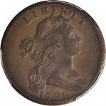 1796 Draped Bust Cent. S-103. Rarity-4. LIHERTY Error. AU-58 (PCGS).