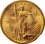 1908 Saint-Gaudens Double Eagle. No Motto. MS-66 (NGC).
