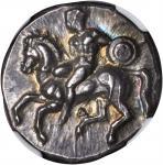 ITALY. Calabria. Tarentum. AR Nomos (8.03 gms), ca. 344-340 B.C. NGC Ch AU, Strike: 4/5 Surface: 5/5