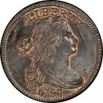 1797 Draped Bust Cent. Sheldon-138. Reverse of 1797, With Stems. Rarity-1. Mint State-66 RB (PCGS).