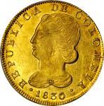 COLOMBIA. 1830-UR 8 Escudos. Popayán mint. Restrepo M166.27. MS-63 (PCGS).