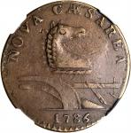 1786 New Jersey Copper. Maris 14-J, W-4810. Rarity-1. Straight Plow Beam, Stegosaurus Head. AU-50 BN