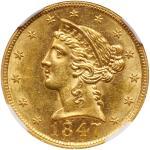 1847 $5 Liberty. NGC MS63