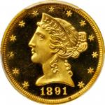 1891 Liberty Head Half Eagle. Proof-65+ Deep Cameo (PCGS).