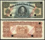 Bank of British North America, Canada, uniface obverse and reverse colour trial $20, 3 July 19-, bla