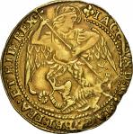 James I (1603-25), third coinage 1619-25, Angel, 4.06g, m.m. trefoil over lis both sides, iacobvs d: