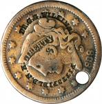 DR. G.G. WILKINS / PITTSFIELD N.H. on an 1838 Braided Hair large cent. Brunk W-612, Rulau NH-114. Ty