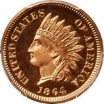 1864 Indian Cent. Bronze. Snow-PR2. Proof-65 Deep Cameo (PCGS).