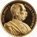 AUSTRIA. Golden Jubilee of Franz Joseph I Gilt Brass Medal, 1898. PCGS SPECIMEN-66 Gold Shield.