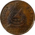 "1787 (ca. 1860) Fugio Copper. ""New Haven Restrike."" Newman 104-FF, W-17560. Rarity-3. Brass. AU-58 ("