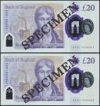 Bank of England, Sarah John, polymer £20, ND (20 February 2020), serial number AA01 000041/42, purpl