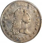 1795 Flowing Hair Silver Dollar. BB-18, B-7. Rarity-3. Three Leaves. VF Details--Streak Removed (PCG