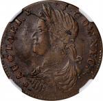 1787 Connecticut Copper. Miller 32.1-X.3, W-3215. Rarity-4. Draped Bust Left. AU-58 (NGC).